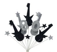 Rock guitar 80th birthday cake topper decoration in black and silver - free postage